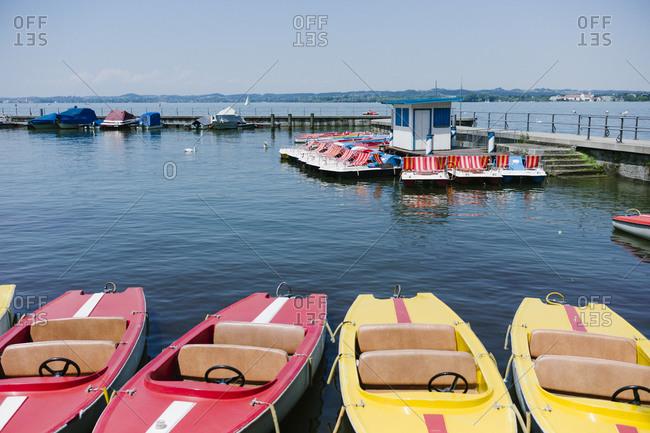 Pleasure boats docked at a marina
