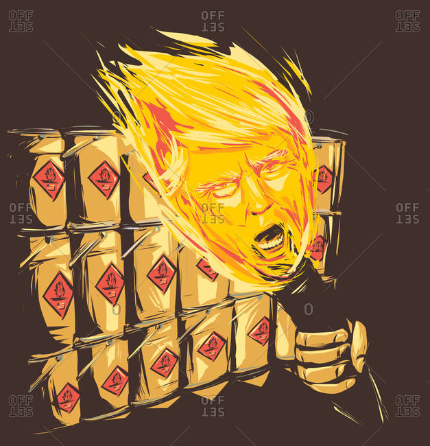 Donald Trump's face in a flame near flammable containers