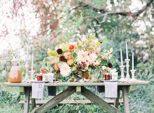 Decorated picnic table for outdoor gathering in autumn