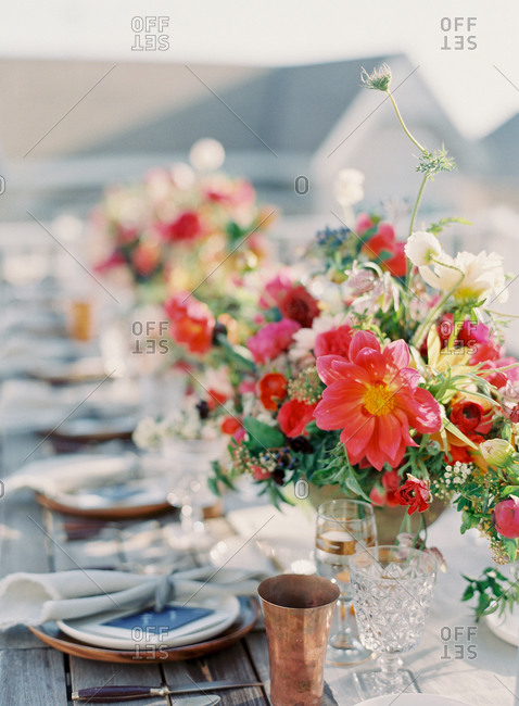 Set table at an outdoor wedding reception