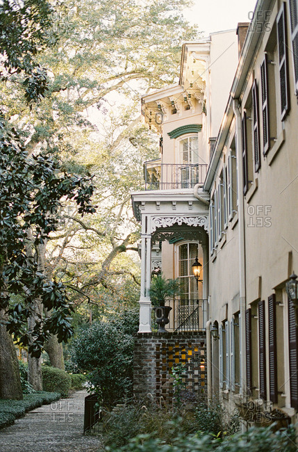 Side entrance of a Victorian style house
