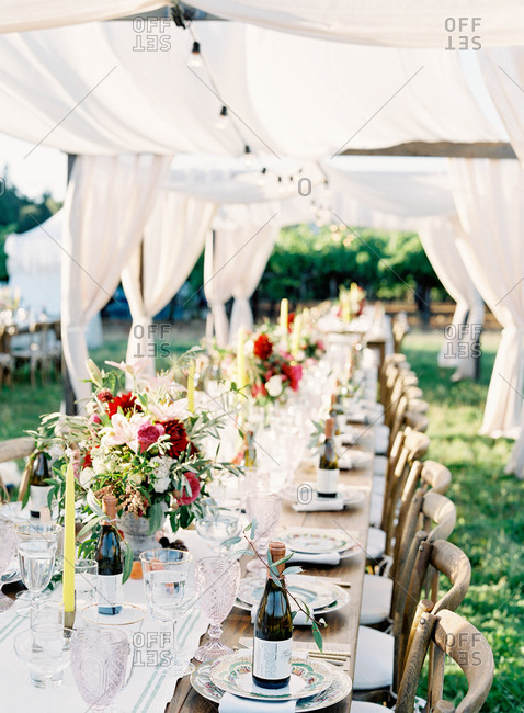 Table at an outdoor wedding reception