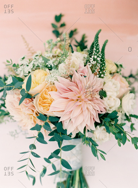 Pastel flowers in a bouquet
