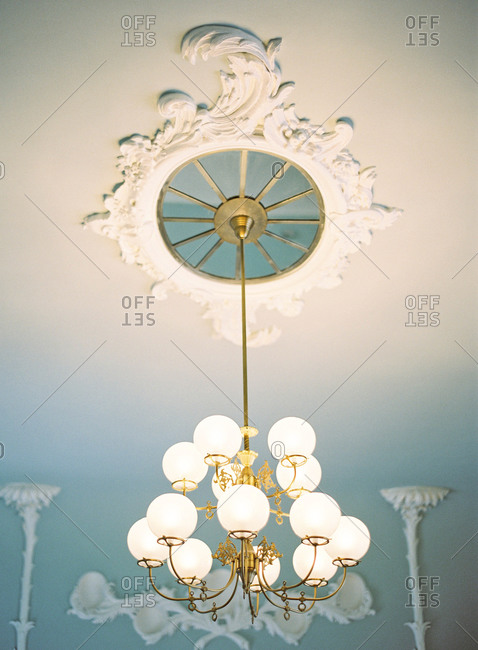 Antique chandelier and ceiling medallion