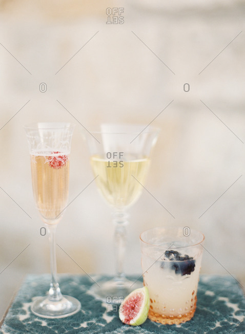 Variety of alcoholic beverages in glasses