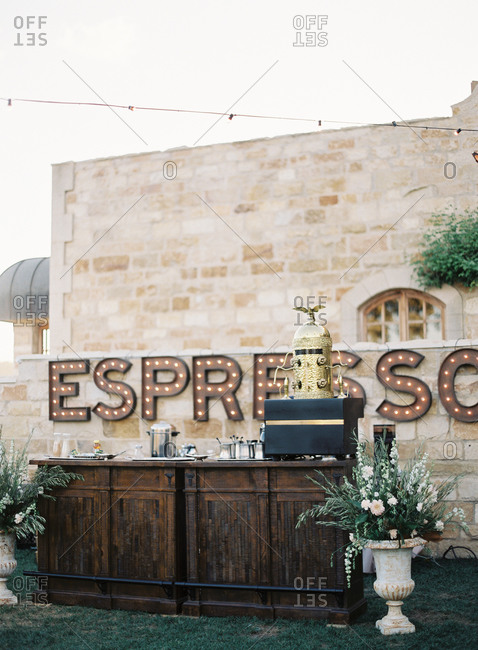 Espresso bar at a wedding reception