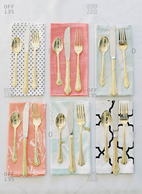 Six sets of gold and silver cutlery sets