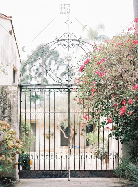 Wrought iron gate to property in Santa Barbara, California