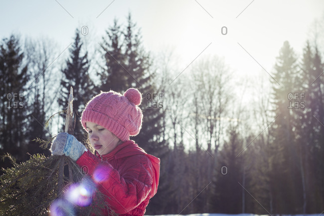 Caucasian girl holding tree branches in snowy field