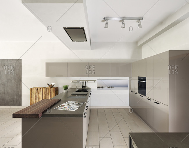 Countertop and cabinets in modern kitchen