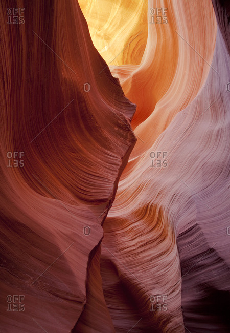 Curving rock walls in Antelope Canyon, Page, Arizona, United States