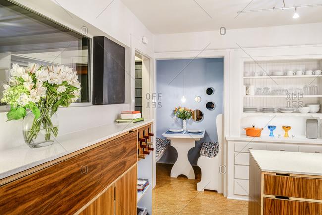 Breakfast nook in modern kitchen