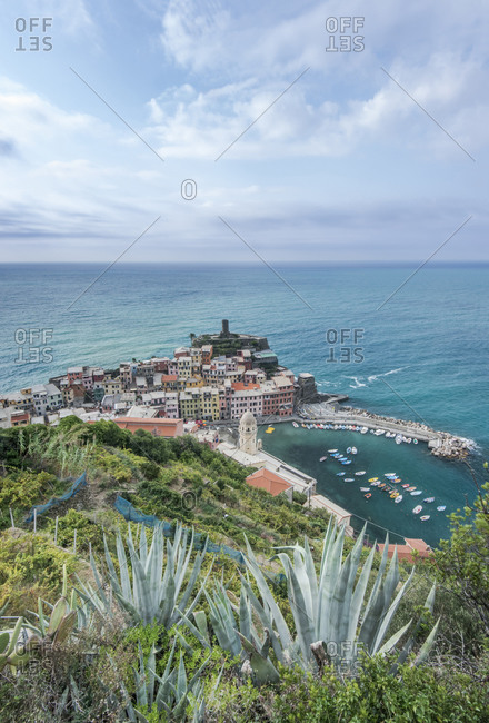 High angle view of Vernazza cityscape and ocean, La Spezia, Italy