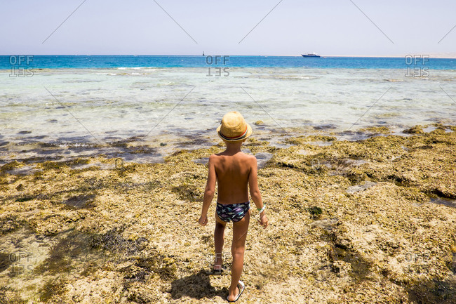 Mari boy exploring tidal pool on beach