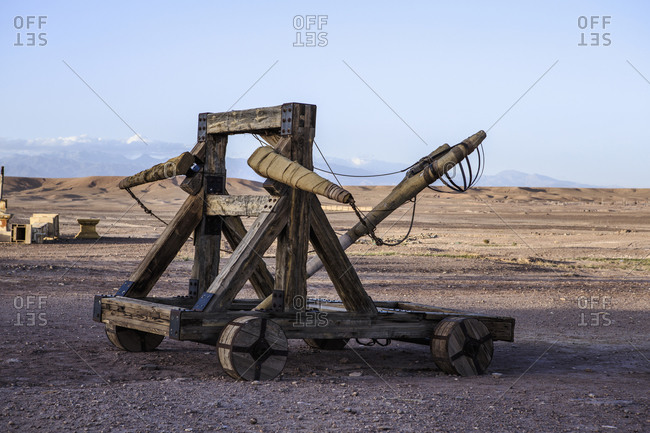 Catapult weapon in remote desert