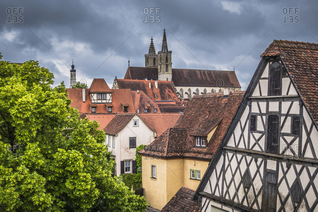 Rooftops of buildings in city, Rothenburg, Bavaria, Germany