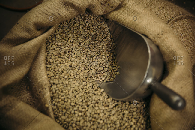 Close up of sack of raw coffee beans