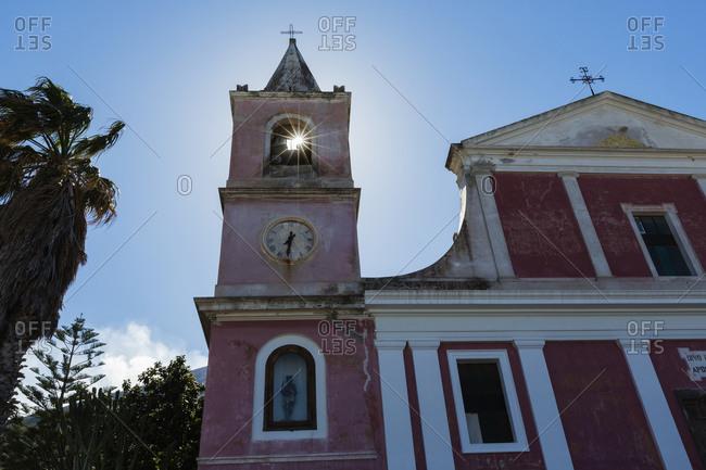 Low angle view of San Bartolomeo Church in sun, Stromboli, Messina, Sicily