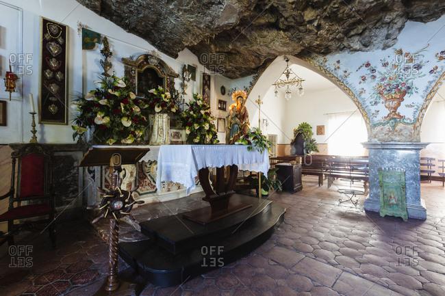 Ornate altar in Santuario Madonna della Rocca, Taormina, Messina, Sicily