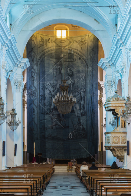 Altar and architecture of cathedral, Centuripe, Enna, Sicily