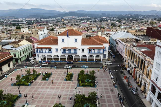 Santiago, Cuba - December 4, 2014: Aerial view of Ayuntamiento Building and park in Santiago de Cuba cityscape, Santiago, Cuba