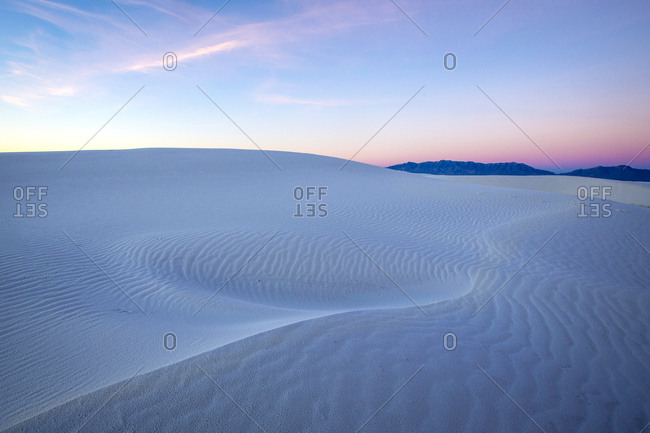 Sunrise over sand dunes, White Sands National Monument, New Mexico, United States