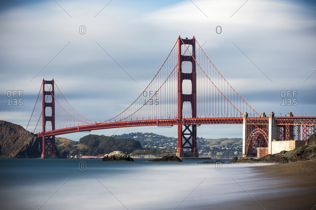 Time lapse view of ocean under Golden Gate Bridge, San Francisco, California, United States