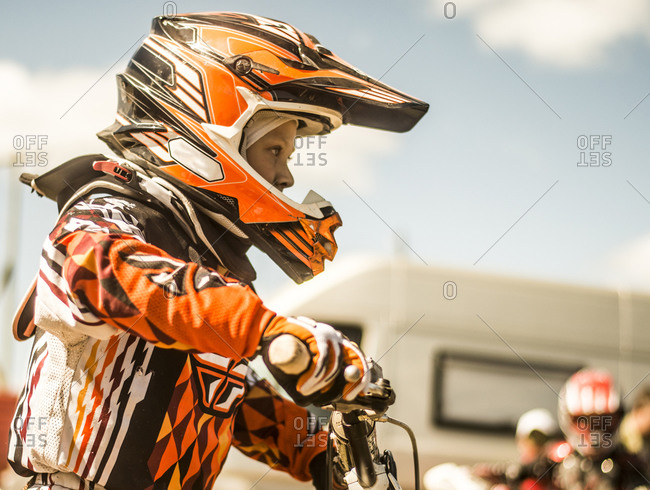 Caucasian motocross biker ready for race