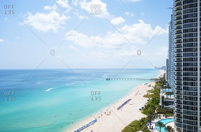 High rise buildings on Miami beachfront, Florida, United States