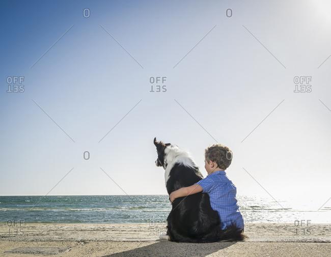 Caucasian boy sitting with dog on beach