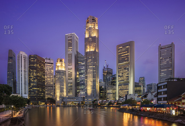 Singapore city skyline and waterfront, Singapore, Singapore