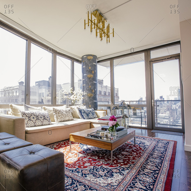 Sofa and rug in urban apartment living room