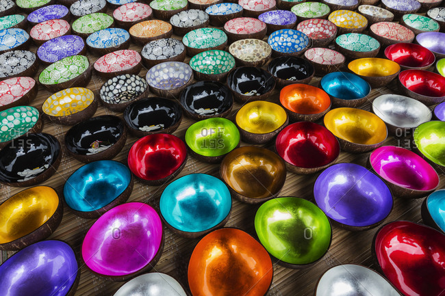 High angle view of colorful glazed coconut shells