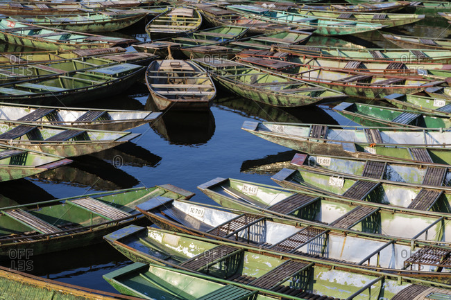 High angle view of rowboats floating on water
