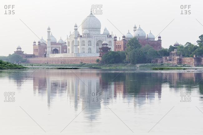 Taj Mahal reflecting in Yamuna River, Agra, Uttar Pradesh, India