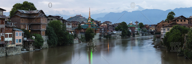 Srinagar buildings over river, Kashmir, India