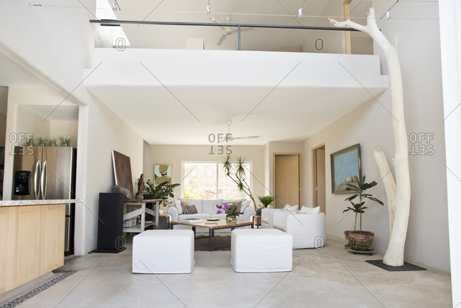 Living room and balcony in modern home