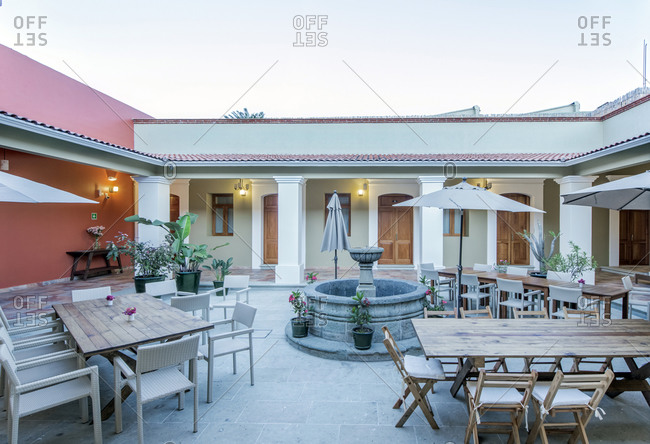 Patio tables in hotel courtyard
