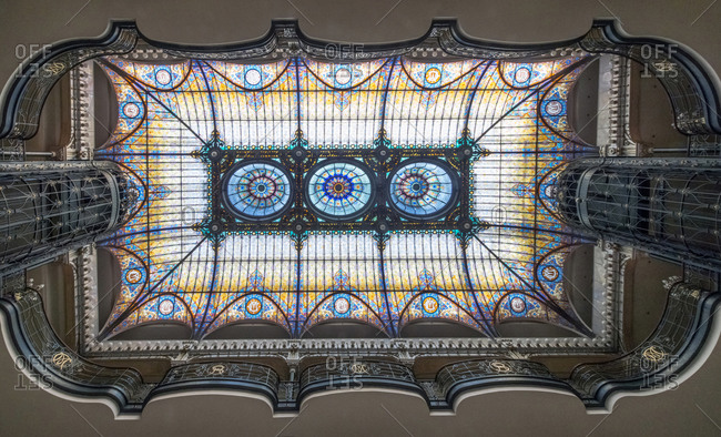Low angle view of stained glass ceiling of Gran Hotel Ciudad de Mexico, Mexico City, Federal District, Mexico