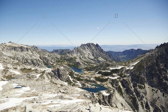 Mountains and lakes in remote landscape