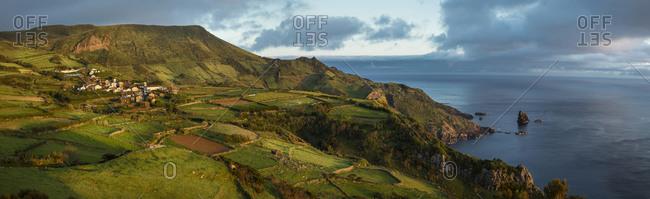 Aerial view of rural fields in coastal landscape