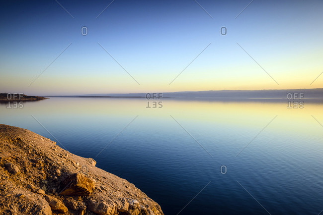 Dead Sea reflecting sunset sky, Al Karak, Jordan
