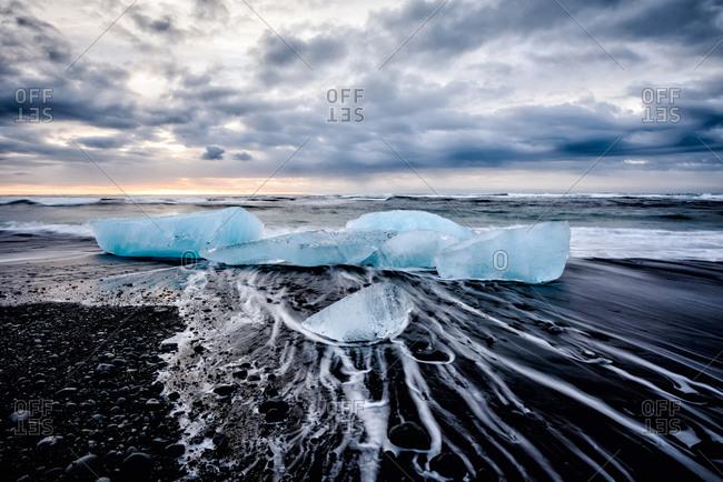 Glaciers washing up on remote beach