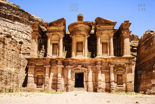 El Deir building carved into cliff face, Petra, Jordan, Jordan