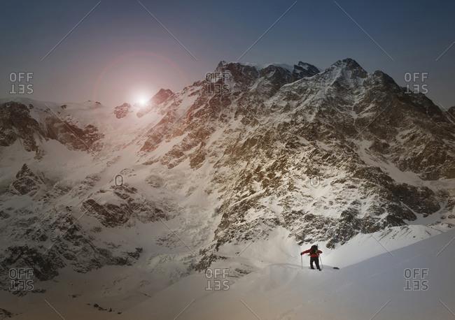 Caucasian skier on Monte Rosa slope, Piedmont, Italy