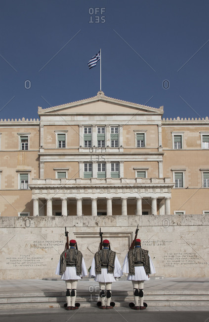 Soldiers guarding Parliament building, Athens, Greece