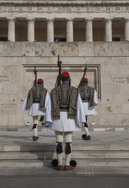 Soldiers guarding Parliament building, Athens, Greece