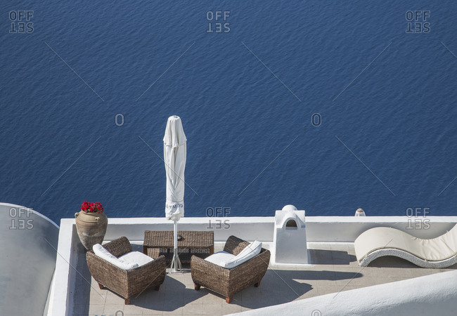 High angle view of balcony over ocean