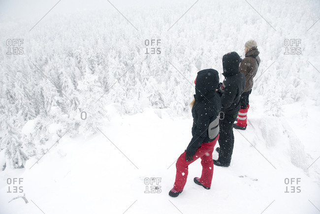 Caucasian hikers on mountaintop admiring snowy forest