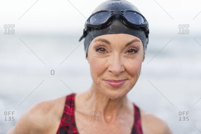 Caucasian swimmer smiling
